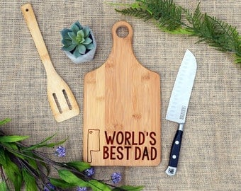 World's Best Dad Paddle Board, Personalized Cutting Board, Custom Cheese Board, Father's Day Present, Birthday or Christmas Gift for dad