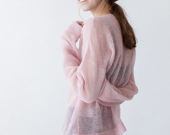 OVERSIZED MOHAIR JUMPER - hand knitted see-through wool pink one size