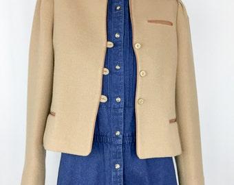 Vintage Cropped Camel Jacket || 70s/80s Camel Blazer
