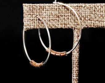 Sterling Silver Hoop Earrings,Mixed Metal Hoops,Hammered Hoop Earrings,Silver and Gold Hoops, Hoops,Circle Earrings,Modern Hoop Earrings
