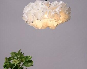 White Silver Pendant Lamp, White Light Fixture, Ceiling lighting, Living room Soft Warm light