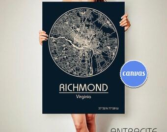 RICHMOND Virginia CANVAS Map Richmond Virginia Poster City Map Richmond Virginia Art Print Richmond Virginia poster Richmond Virginia