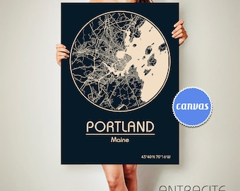 PORTLAND Maine CANVAS Map Portland Maine Poster City Map Portland Maine Art Print Portland Maine