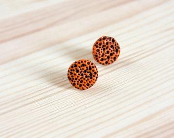 Orange earrings Gifts under 20 Black orange stud earrings Orange studs Small studs Polymer clay earrings Textured earrings Modern earrings