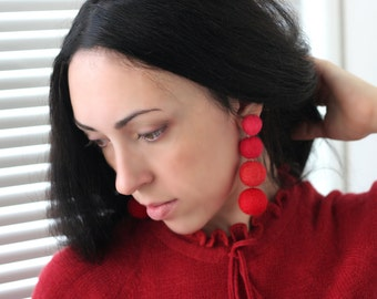 Lightweight earrings Long earrings Statement earrings Stud red earrings Big clip on earrings dangle Felt ball earrings gifts for girlfriend