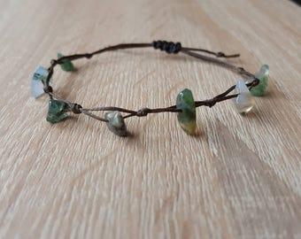 Green Moss agate gemstone chips green moss agate beads chip bracelet