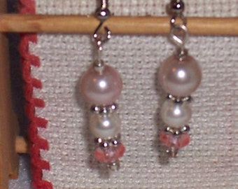 Beautiful White Glass Pearls with Silver Spacers and  Pink Bottom Spacer. Free Shipping
