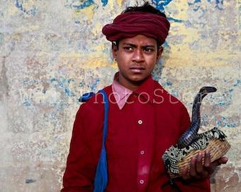 India Photography, Young Cobra Snake Charmer, Snake Tamer, Indian Snake Charmer, Travel Photography, Fine Art Photography, India Print Art