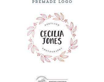 Floral Wreath Logo design Premade, Floral Logo, Custom logo design, Floral Feminine Branding, Premade Logo Design, Logo and watermark