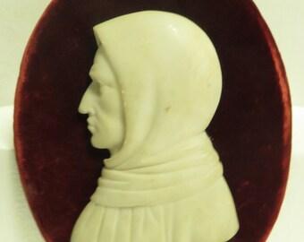 Vintage Framed & Hand Carved Alabaster Marble Profile of a Man in Head Cloak.