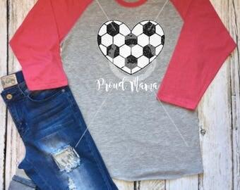 Ladies Proud Mama Glitter Soccer Heart Shirt