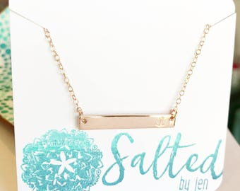 Rose Gold Bar Necklace - Anchor Necklace - Custom Jewelry - Gift For Her