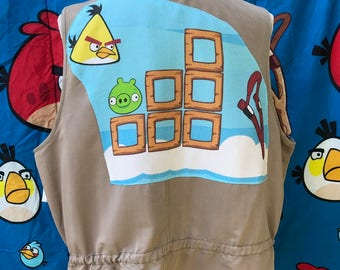 Angry Birds Vest Top Geek Chic Cartoon Movie Gamer Vintage Angry Birds Fabric Size XXL