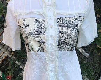 Steampunk Victorian Day of the Dead Shirt Toile Skulls Saloon Lace Upcycled Size Medium