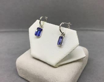14K White Gold Natural Tanzanite (2.10 ct) Earrings, Appraised 1,400 CAD