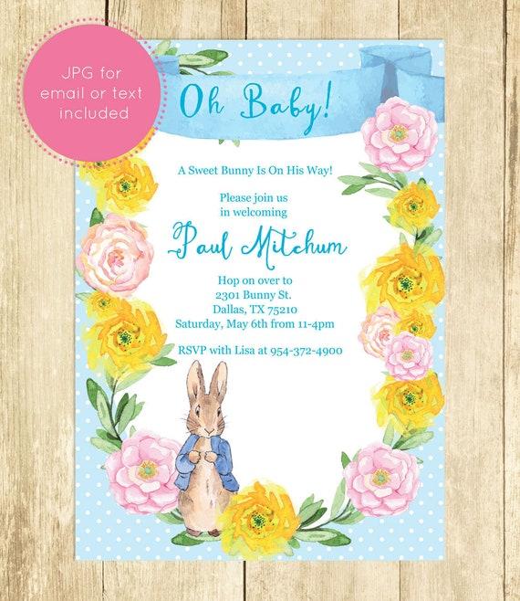 Peter rabbit baby shower invitation beatrix potter invites for boy il570xn filmwisefo