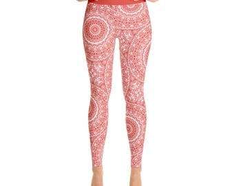 Patterned Yoga Leggings - Vermilion Red Leggings for Women, High Waisted Gym Pants