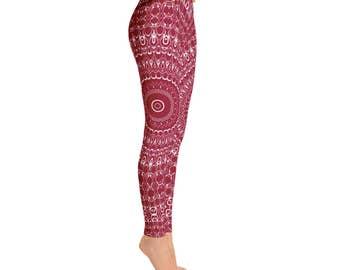 Mid Rise Burgundy Leggings - Red Yoga Pants, High Waist Yoga Leggings, Mandala Patterned Leggings, Printed Yoga Tights