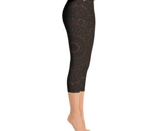 Capris - Chocolate Brown Yoga Pants, Black Leggings with Brown Mandala Designs for Women, Printed Leggings, Pattern Yoga Tights