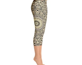 Mid Rise Tribal Yoga Pants for Women - Hippie Leggings, Festival Clothing, Shaman Clothing, Printed Yoga Leggings