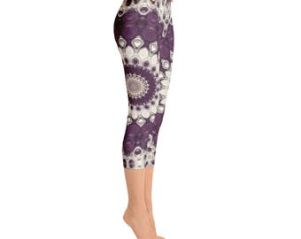 Capris - Womens Yoga Leggings, Mandala Yoga Pants, Printed Leggings Pants, Patterned Leggings Soft, Fashion Tights