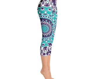 Capris - Custom Leggings, Aquamarine Blue Kaleidoscope Pattern Pants, Ocean Inspired Mandala Clothing, Yoga Tights