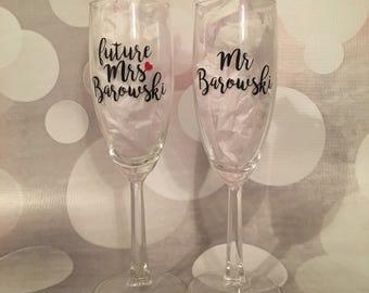Future Mrs. / Mr. Champagne Flute Set; Engagement Champagne Flutes; Wedding Champagne Flutes