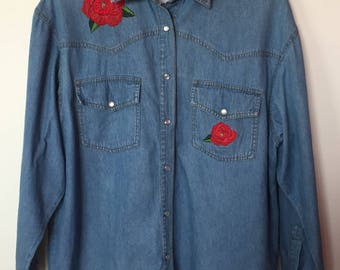 Embroidered Rose Chambray Shirt