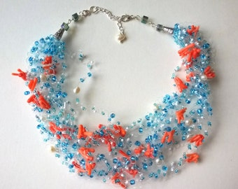 Corals And Pearls Floating Illusion Necklace