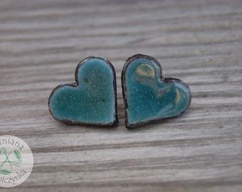 Big Turquoise heart earrings, Ceramic stud,ceramic earrings, blue earrings, surgical steel posts, turquoise stud, one of a kind, 2