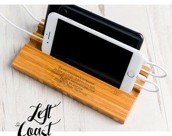 Him Phone Stand Dock Dad Mom Boyfriend Personalized Man Charging Station Wood Techie Quote iPhone Android Double Slot