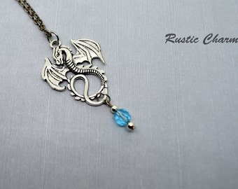 Personalized Birthstone Crystal Dragon Charm Necklace