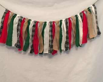 Country Christmas Garland/Flannel Garland/Rustic Christmas Decor/Rustic Wedding Backdrop/Winter Garland/Fireplace Garland/Fabric Garland