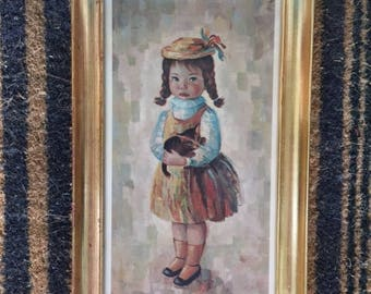 1960s Boobsy Girl with Kitten-Framed print