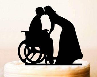 Wheelchair Wedding Cake Topper, Groom in Wheelchair, Wedding Cake Topper Silhouette,Bride Groom Topper, Wheelchair Wedding (0195а)