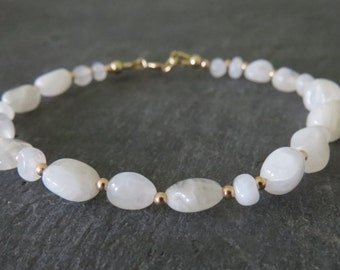 Rainbow Moonstone Pebble Bead & Gold Bracelet