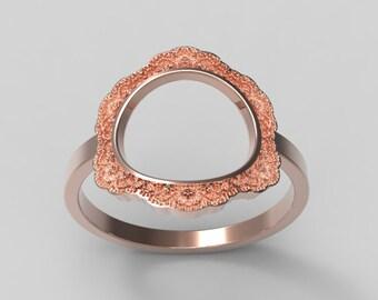 Rose Gold Circle Ring, Rose Gold Karma Ring, 14K Gold Circle Ring, Open Circle Ring, Rose Gold Ring Circle, Rose Gold Karma,Circle Lace Ring