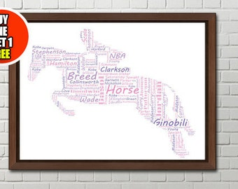 Horse personalised art print, horses print, horse personlised