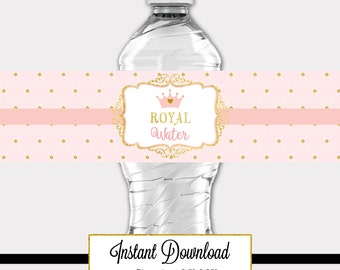 Printable Princess Pink and Gold-A 032 Birthday Baby Shower Royal Water Waterbottle Label Party Decoration, Baby Shower, Birthday