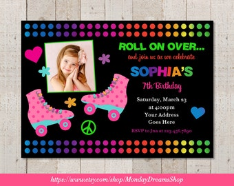 Printable Roller Skating Birthday Invitation, Roller Skating Birthday Party Invitation
