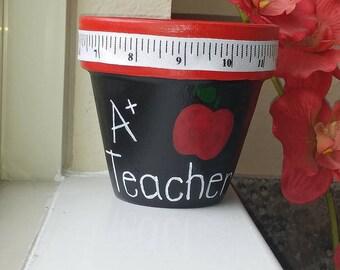 A+ Teacher Flower Pot
