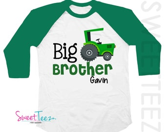 Big Brother Shirt Green Tractor Big Cousin Personalized Shirt Green Raglan Boy Sibling Announcement