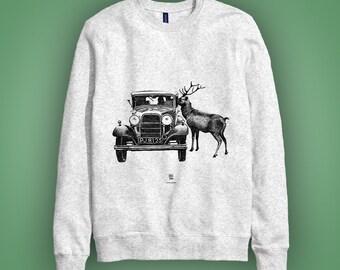 Casual sweatshirt gris: BONNE ANNÉE! illustration Noël Hiver, cerf et vieille voiture.