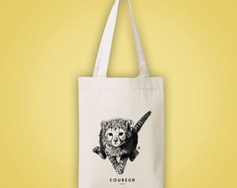 Sac cabas en toile recyclée (recycled woven tote bag, shopping bag) guépard COUREUR runner baby cheetah animal totem 2015 illustration