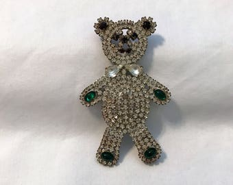 Vintage Crystal Czech Rhinestone Teddy Bear, Rhinestone Teddy Bear Brooch, Teddy Bear Brooch, Teady Bear Rhinestone Pin, Estate Jewelry