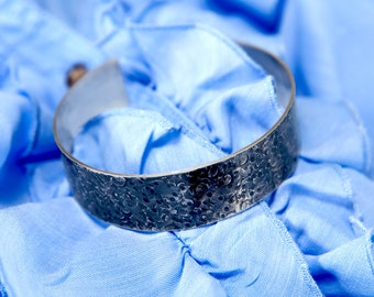 Women's Bracelet, Silver Textured Oxidised Cuff Bracelet, Hallmarked by the Goldsmith Company London Assay office.