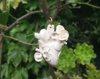 Pearlescent White Anatomical Heart Pendant