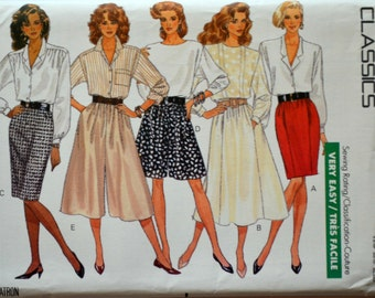 Uncut 1980s Butterick Vintage Sewing Pattern 6607, Size 18-20-22; Misses' Skirt