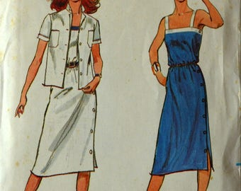 Uncut 1970s Butterick Vintage Sewing Pattern 3038, Size 12; Misses' Dress and Jacket