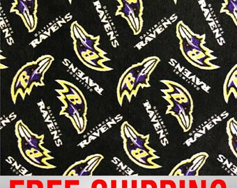 Nfl Baltimore Ravens Licensed Fleece Fabric Bty From